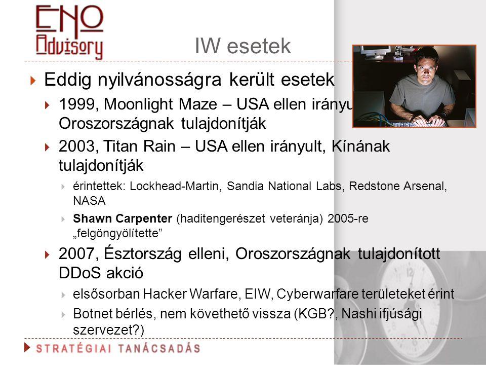 IW esetek  Eddig nyilvánosságra került esetek  1999, Moonlight Maze – USA ellen irányult, Oroszországnak tulajdonítják  2003, Titan Rain – USA elle