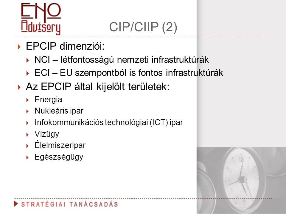 CIP/CIIP (2)  EPCIP dimenziói:  NCI – létfontosságú nemzeti infrastruktúrák  ECI – EU szempontból is fontos infrastruktúrák  Az EPCIP által kijelö