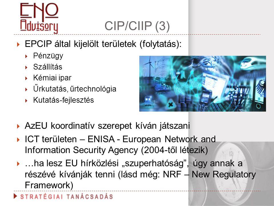 CIP/CIIP (3)  EPCIP által kijelölt területek (folytatás):  Pénzügy  Szállítás  Kémiai ipar  Űrkutatás, űrtechnológia  Kutatás-fejlesztés  AzEU