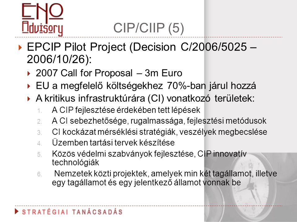 CIP/CIIP (5)  EPCIP Pilot Project (Decision C/2006/5025 – 2006/10/26):  2007 Call for Proposal – 3m Euro  EU a megfelelő költségekhez 70%-ban járul