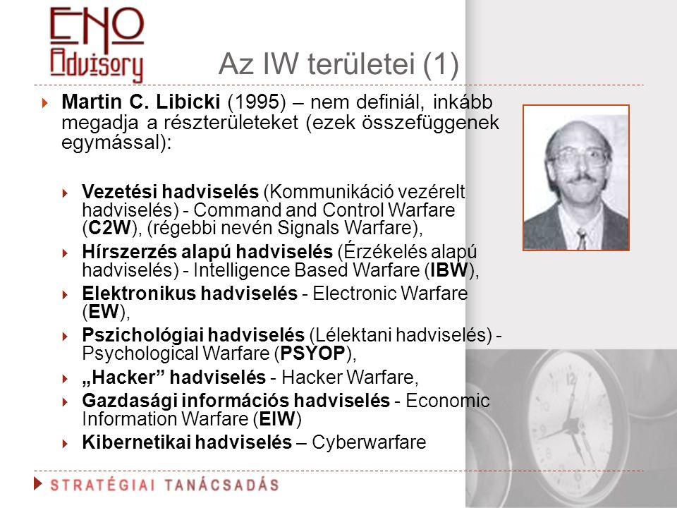 Az IW területei (1)  Martin C. Libicki (1995) – nem definiál, inkább megadja a részterületeket (ezek összefüggenek egymással):  Vezetési hadviselés
