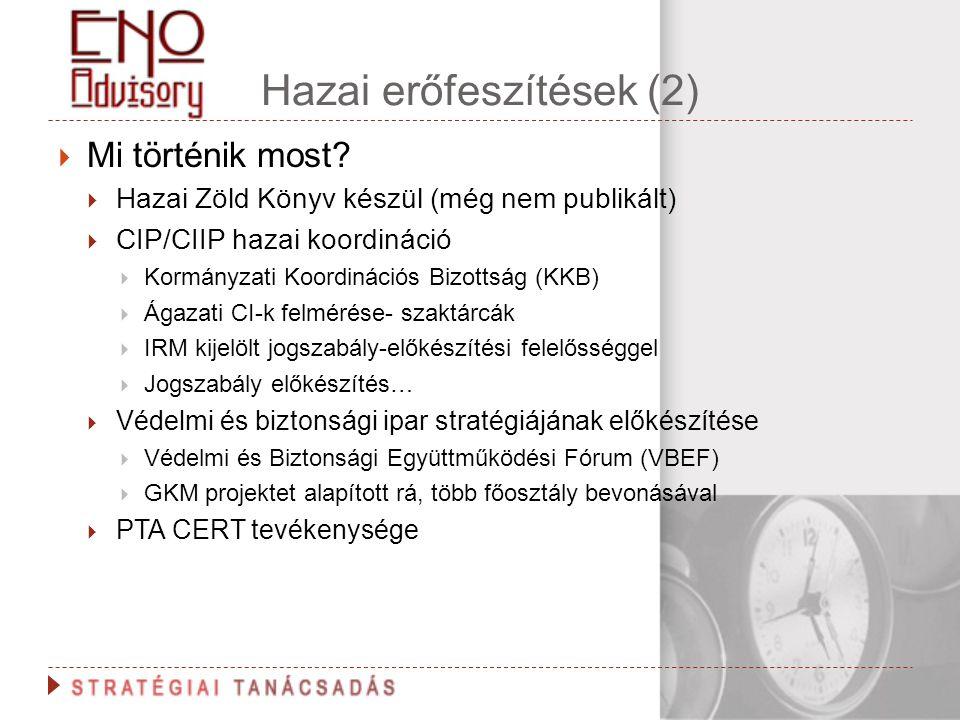 Hazai erőfeszítések (2)  Mi történik most?  Hazai Zöld Könyv készül (még nem publikált)  CIP/CIIP hazai koordináció  Kormányzati Koordinációs Bizo