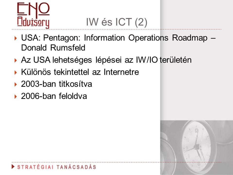 IW és ICT (2)  USA: Pentagon: Information Operations Roadmap – Donald Rumsfeld  Az USA lehetséges lépései az IW/IO területén  Különös tekintettel a