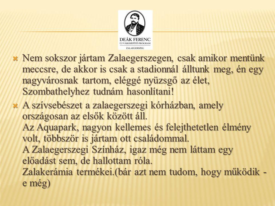 Nem sokszor jártam Zalaegerszegen, csak amikor mentünk meccsre, de akkor is csak a stadionnál álltunk meg, én egy nagyvárosnak tartom, eléggé nyüzsg