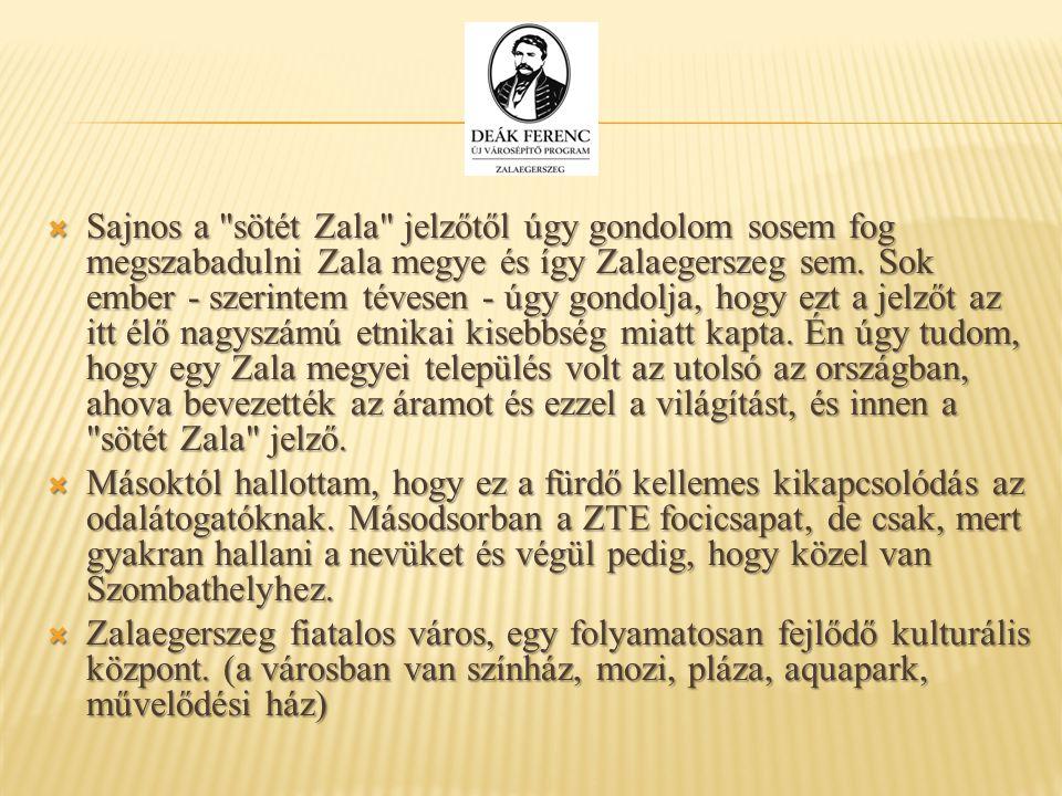  Sajnos a sötét Zala jelzőtől úgy gondolom sosem fog megszabadulni Zala megye és így Zalaegerszeg sem.