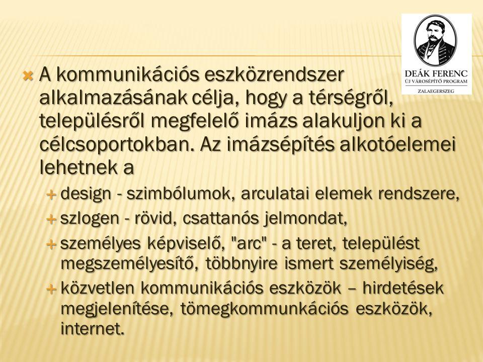  A kommunikációs eszközrendszer alkalmazásának célja, hogy a térségről, településről megfelelő imázs alakuljon ki a célcsoportokban.