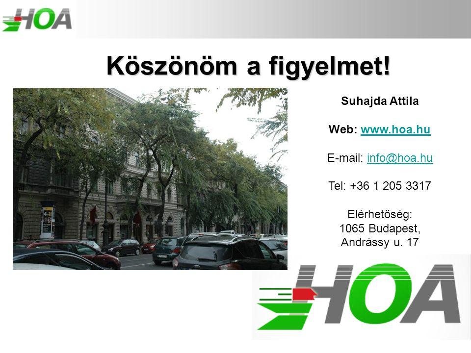 Suhajda Attila Web: www.hoa.huwww.hoa.hu E-mail: info@hoa.huinfo@hoa.hu Tel: +36 1 205 3317 Elérhetőség: 1065 Budapest, Andrássy u. 17 Köszönöm a figy