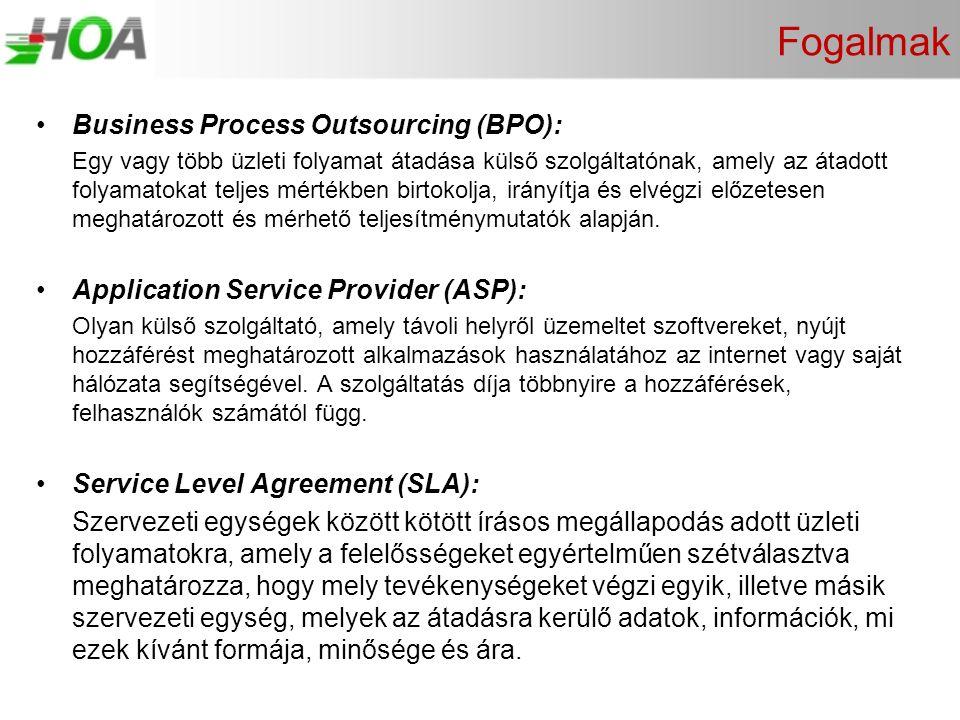Fogalmak •Business Process Outsourcing (BPO): Egy vagy több üzleti folyamat átadása külső szolgáltatónak, amely az átadott folyamatokat teljes mértékb