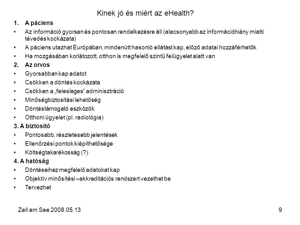 Zell am See 2008.05.1310 Kinek rossz és miért az eHealth – ellenjavallatok….