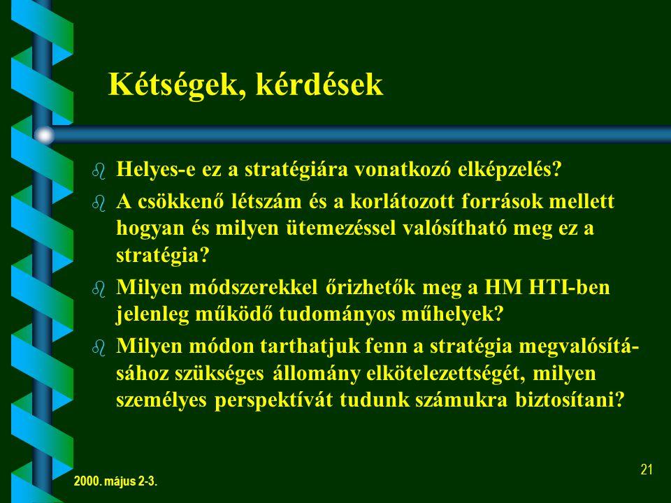 2000.május 2-3. 21 Kétségek, kérdések b b Helyes-e ez a stratégiára vonatkozó elképzelés.