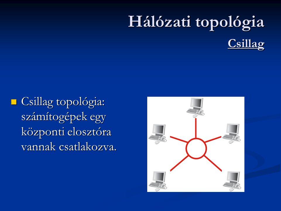  Csillag topológia: számítogépek egy központi elosztóra vannak csatlakozva.