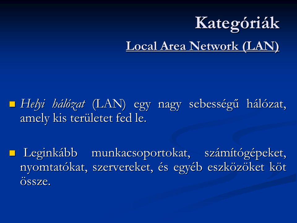  Helyi hálózat (LAN) egy nagy sebességű hálózat, amely kis területet fed le.