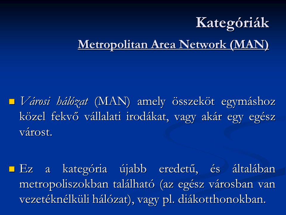  Nagy kiterjedésű hálózat (WAN) amely hatalmas területeket fed le (országot, kontinenseket, az egész világot).
