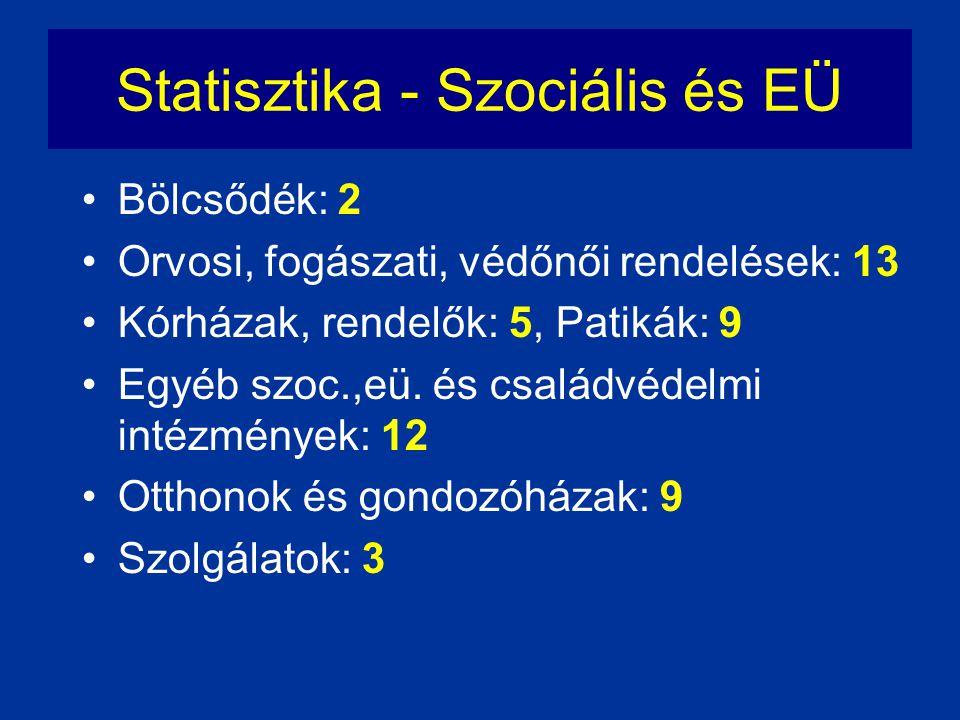 Statisztika - Szociális és EÜ •Bölcsődék: 2 •Orvosi, fogászati, védőnői rendelések: 13 •Kórházak, rendelők: 5, Patikák: 9 •Egyéb szoc.,eü. és családvé