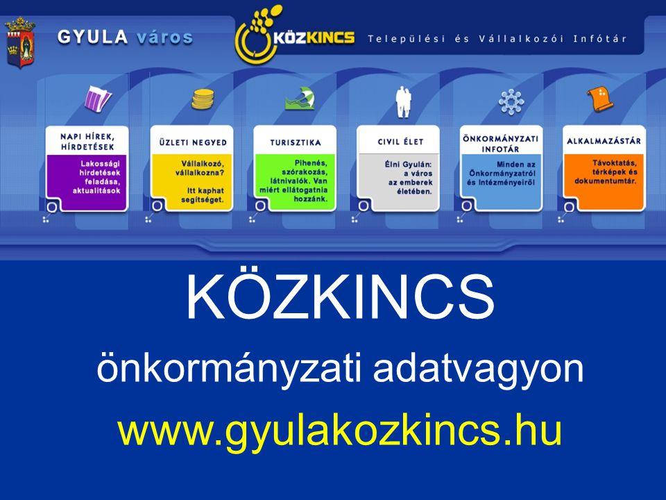 KÖZKINCS önkormányzati adatvagyon www.gyulakozkincs.hu