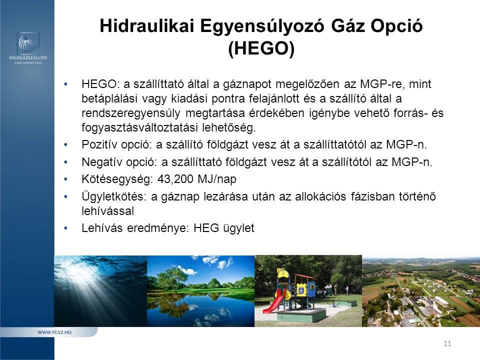 11 Hidraulikai Egyensúlyozó Gáz Opció (HEGO) •HEGO: a szállíttató által a gáznapot megelőzően az MGP-re, mint betáplálási vagy kiadási pontra felajánl