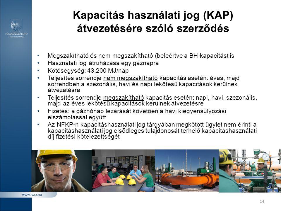 14 Kapacitás használati jog (KAP) átvezetésére szóló szerződés •Megszakítható és nem megszakítható (beleértve a BH kapacitást is •Használati jog átruh