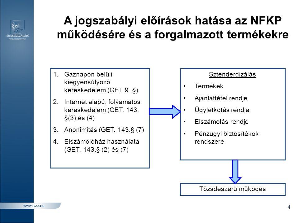 """MGP: Magyar Gázkiegyenlítő Pont •A nagynyomású szállítórendszer virtuális betáplálási és kiadási pontja, amelynek kapacitása végtelen; •A kereskedelmi egyensúlytalansági pozíciók a virtuális ponton kerülnek megjelenítésre és elszámolásra; •NFKP tranzakciók esetében a földgáz átadás-átvételi pontja az MGP, ezért: •Az esetleges vételi és eladási szándékok könnyen összehangolhatók •Nem szállíttató rendszerhasználók számára is hozzáférhető •Könnyebben kialakulhat a valós piaci viszonyokat ténylegesen tükröző elszámoló árakhoz szükséges likviditási szint •Az MGP költség és ráfordítás semleges: minden betáplálási és kiadási ponttól """"azonos távolságra helyezkedik el 5"""