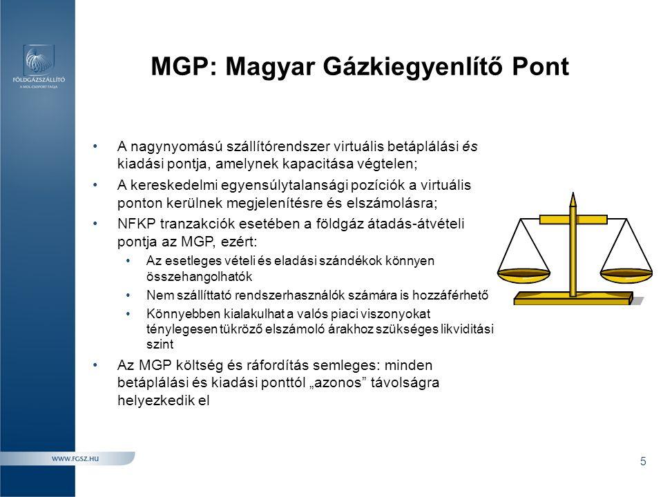MGP: Magyar Gázkiegyenlítő Pont •A nagynyomású szállítórendszer virtuális betáplálási és kiadási pontja, amelynek kapacitása végtelen; •A kereskedelmi