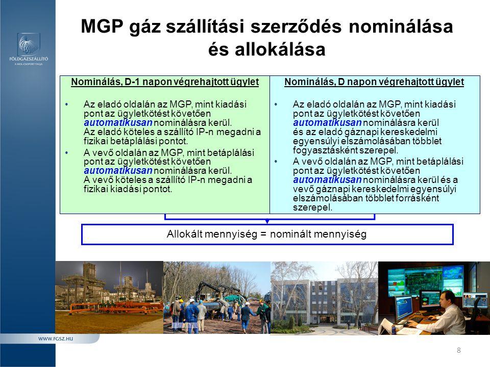 8 MGP gáz szállítási szerződés nominálása és allokálása Nominálás, D-1 napon végrehajtott ügylet •Az eladó oldalán az MGP, mint kiadási pont az ügylet