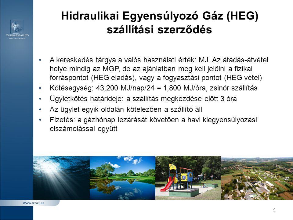 9 Hidraulikai Egyensúlyozó Gáz (HEG) szállítási szerződés •A kereskedés tárgya a valós használati érték: MJ. Az átadás-átvétel helye mindig az MGP, de