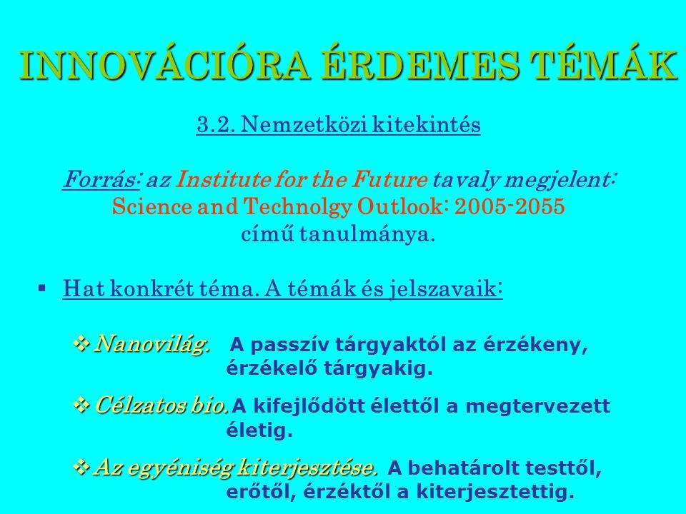 INNOVÁCIÓRA ÉRDEMES TÉMÁK 3.2.