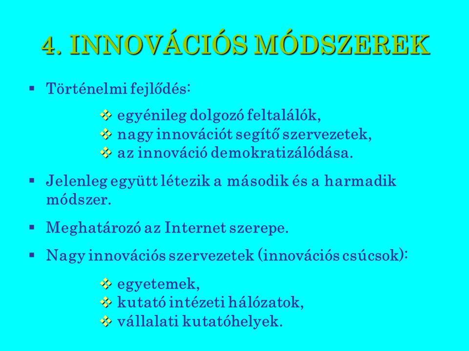 4. INNOVÁCIÓS MÓDSZEREK  Történelmi fejlődés:   egyénileg dolgozó feltalálók,   nagy innovációt segítő szervezetek,   az innováció demokratizál