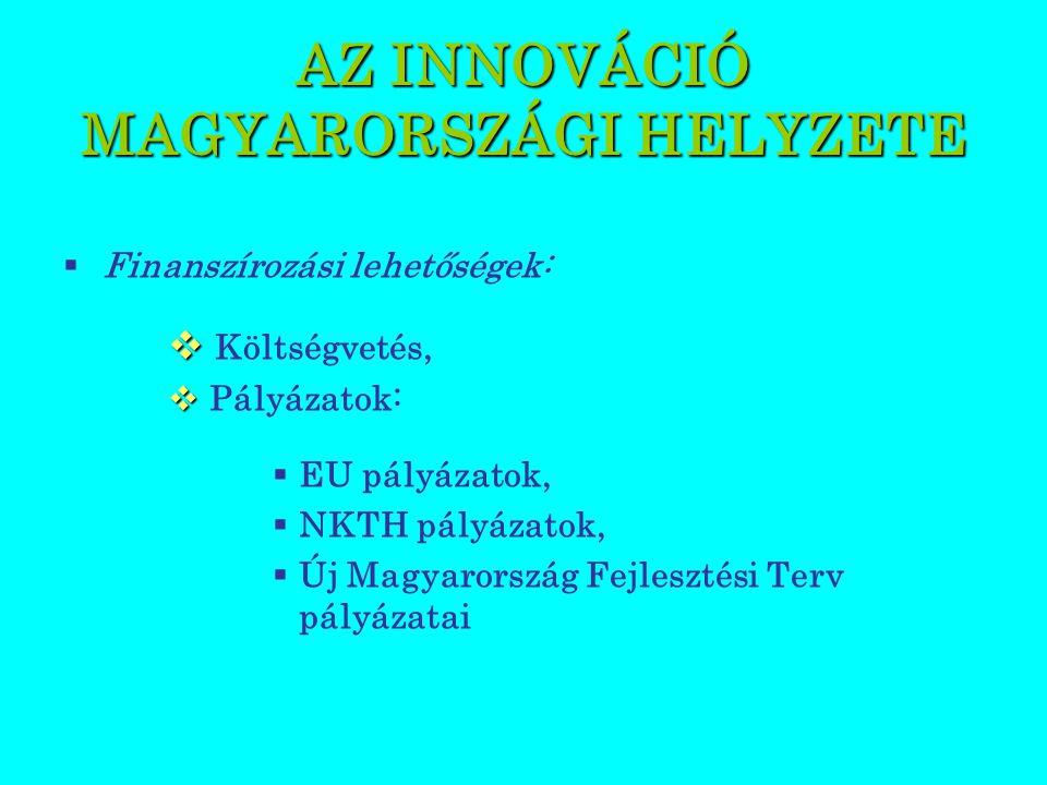 AZ INNOVÁCIÓ MAGYARORSZÁGI HELYZETE  Finanszírozási lehetőségek:   Költségvetés,   Pályázatok:  EU pályázatok,  NKTH pályázatok,  Új Magyarország Fejlesztési Terv pályázatai