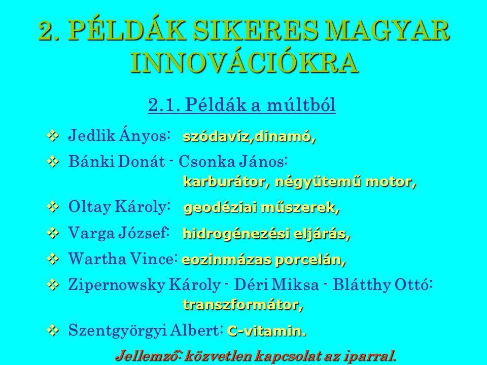 PÉLDÁK SIKERES MAGYAR INNOVÁCIÓKRA 2.2.