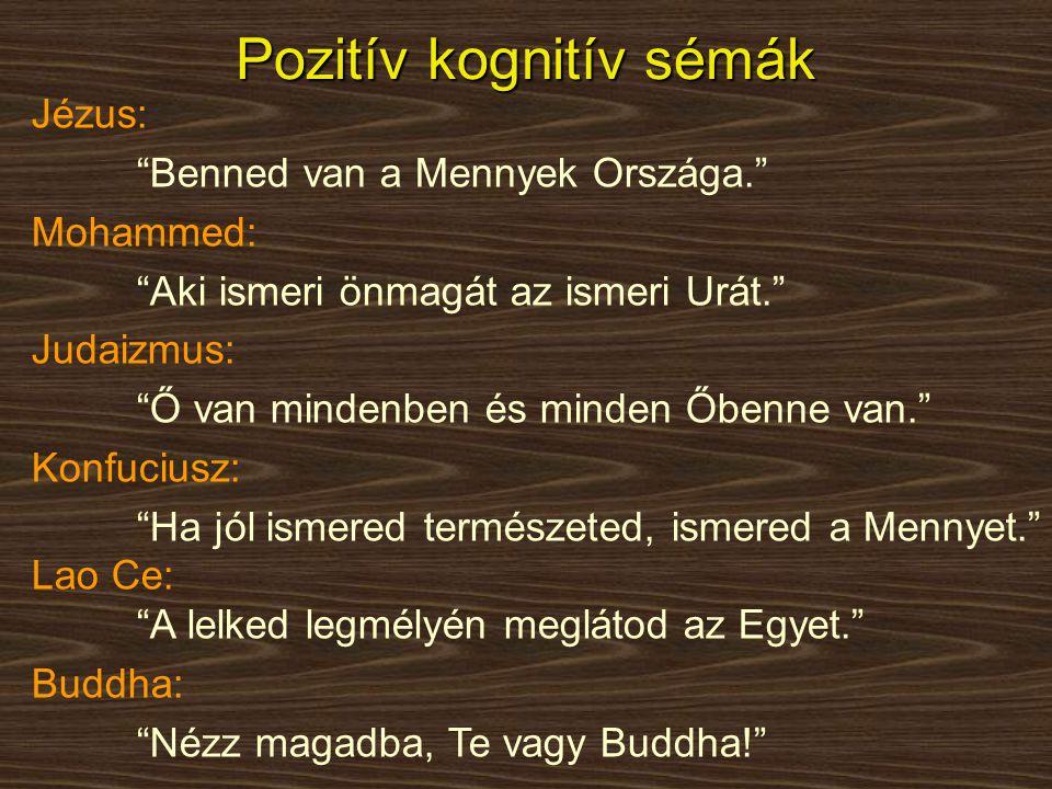 """Pozitív kognitív sémák Jézus: """"Benned van a Mennyek Országa."""" Mohammed: """"Aki ismeri önmagát az ismeri Urát."""" Judaizmus: """"Ő van mindenben és minden Őbe"""