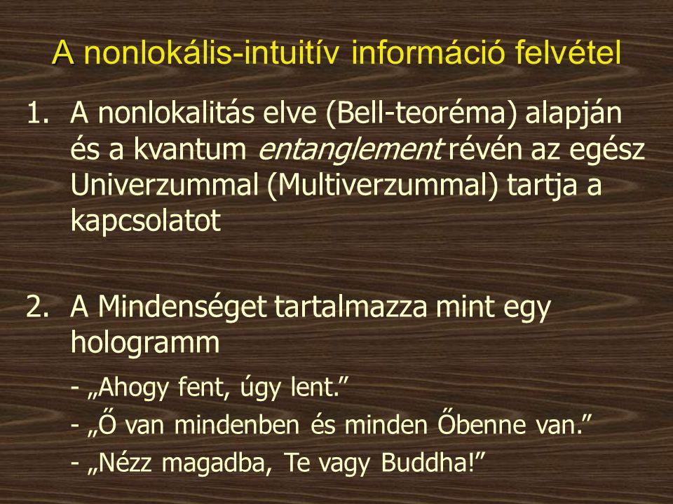 A A nonlokális-intuitív információ felvétel 1.A nonlokalitás elve (Bell-teoréma) alapján és a kvantum entanglement révén az egész Univerzummal (Multiv