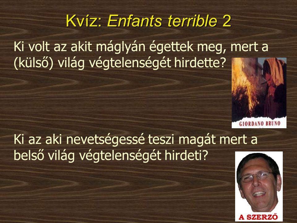 Kvíz: Enfants terrible 2 Ki volt az akit máglyán égettek meg, mert a (külső) világ végtelenségét hirdette? A SZERZŐ Ki az aki nevetségessé teszi magát