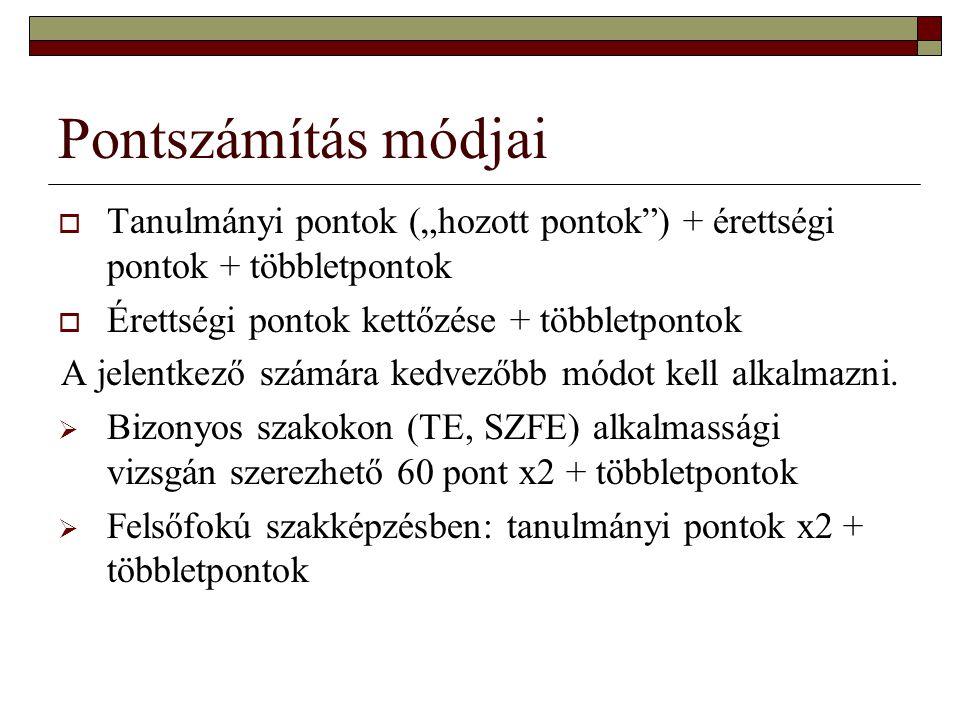 """Pontszámítás módjai  Tanulmányi pontok (""""hozott pontok"""") + érettségi pontok + többletpontok  Érettségi pontok kettőzése + többletpontok A jelentkező"""