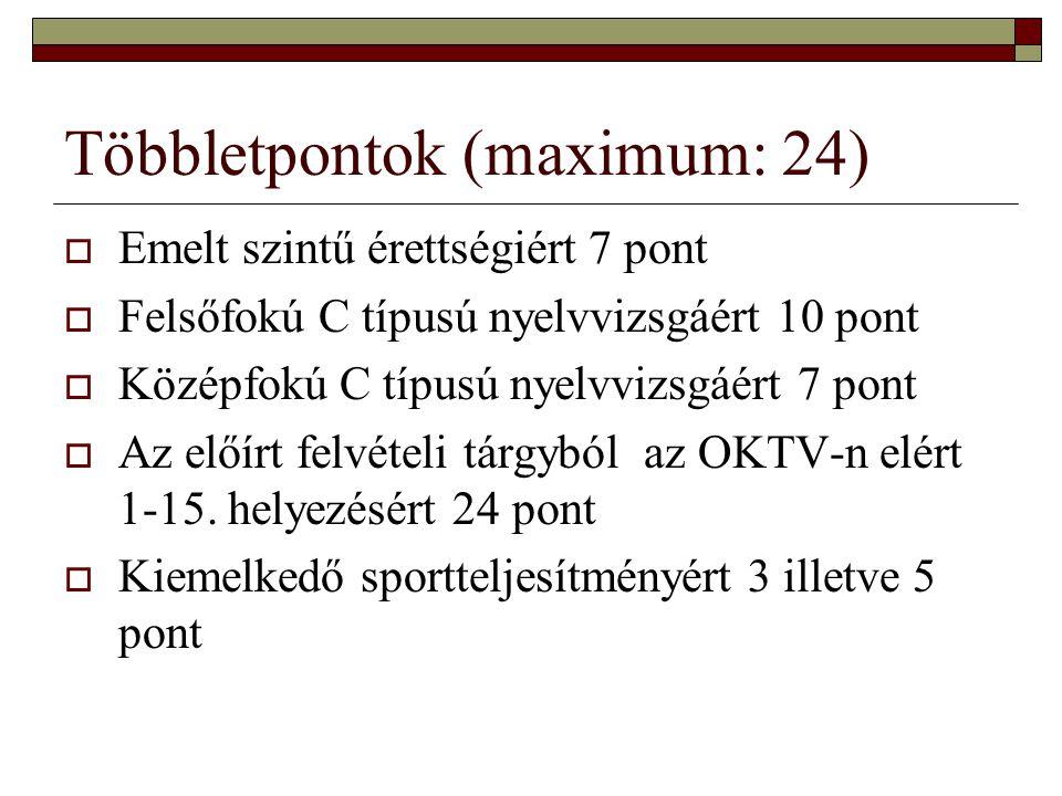 Többletpontok (maximum: 24)  Emelt szintű érettségiért 7 pont  Felsőfokú C típusú nyelvvizsgáért 10 pont  Középfokú C típusú nyelvvizsgáért 7 pont
