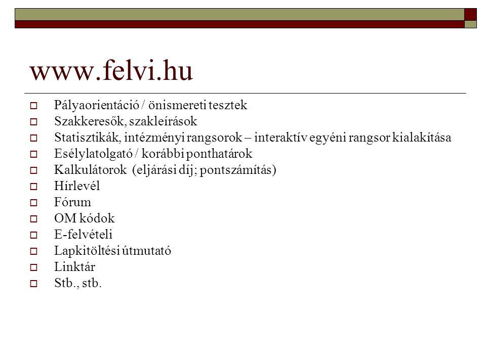 www.felvi.hu  Pályaorientáció / önismereti tesztek  Szakkeresők, szakleírások  Statisztikák, intézményi rangsorok – interaktív egyéni rangsor kiala