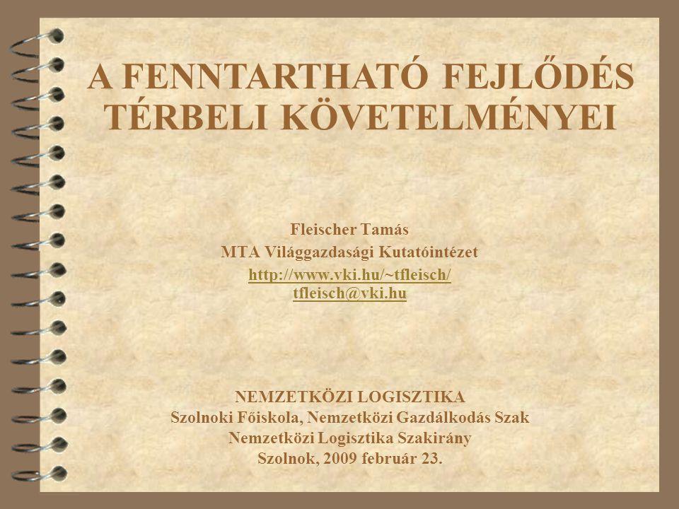 Fleischer Tamás MTA Világgazdasági Kutatóintézet http://www.vki.hu/~tfleisch/ tfleisch@vki.hu NEMZETKÖZI LOGISZTIKA Szolnoki Főiskola, Nemzetközi Gazd
