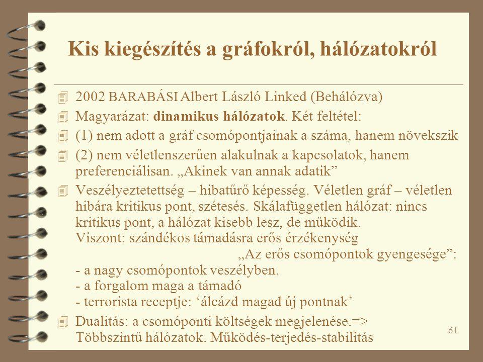 61 4 2002 BARABÁSI Albert László Linked (Behálózva) 4 Magyarázat: dinamikus hálózatok. Két feltétel: 4 (1) nem adott a gráf csomópontjainak a száma, h