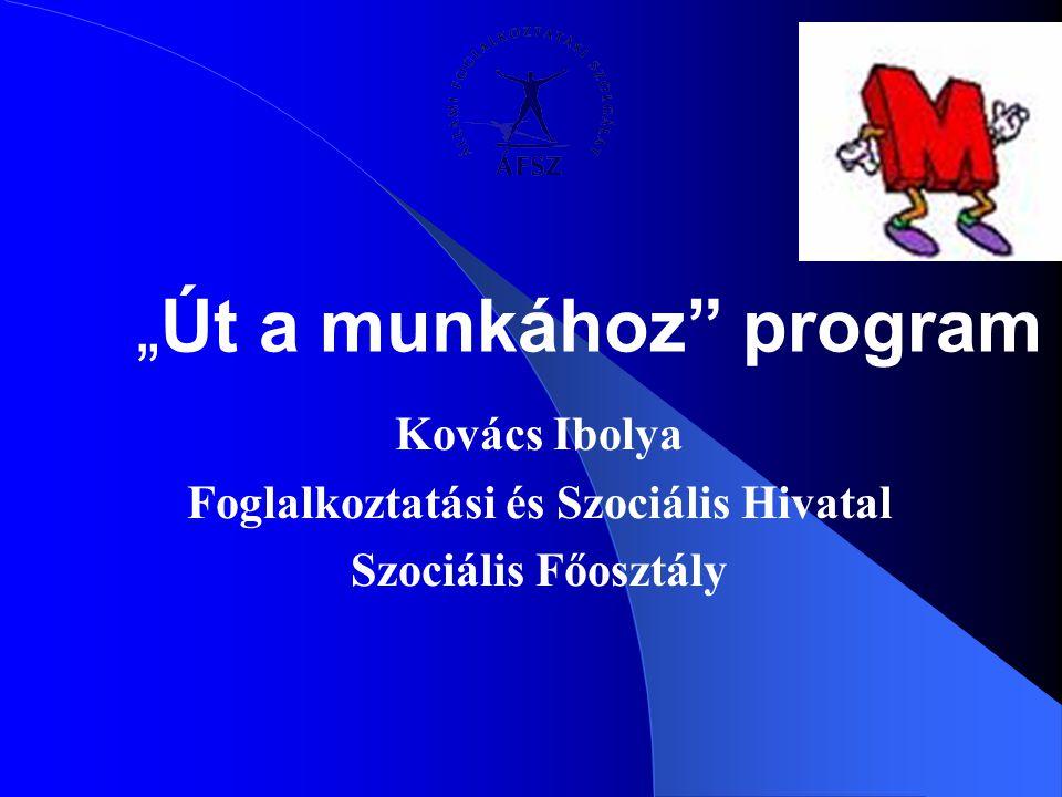 """""""Út a munkához"""" program Kovács Ibolya Foglalkoztatási és Szociális Hivatal Szociális Főosztály"""
