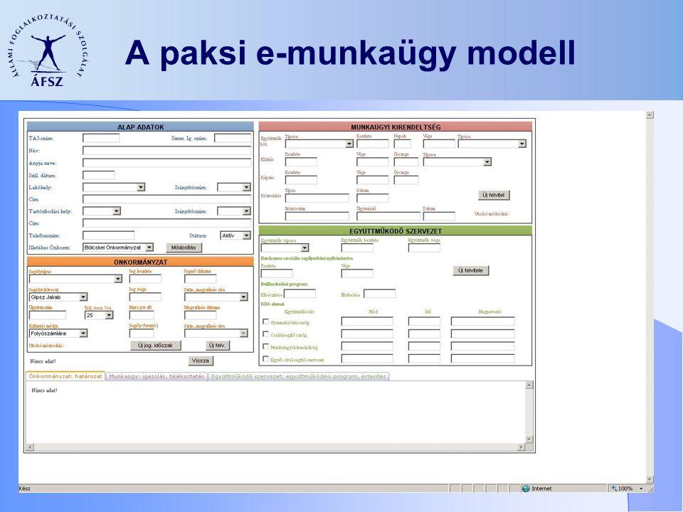 A paksi e-munkaügy modell