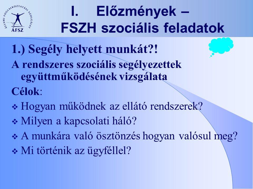 I.Előzmények – FSZH szociális feladatok 1.) Segély helyett munkát?! A rendszeres szociális segélyezettek együttműködésének vizsgálata Célok:  Hogyan