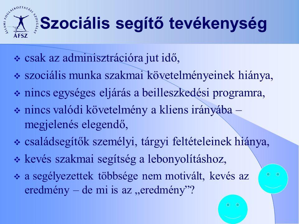 Szociális segítő tevékenység  csak az adminisztrációra jut idő,  szociális munka szakmai követelményeinek hiánya,  nincs egységes eljárás a beilles