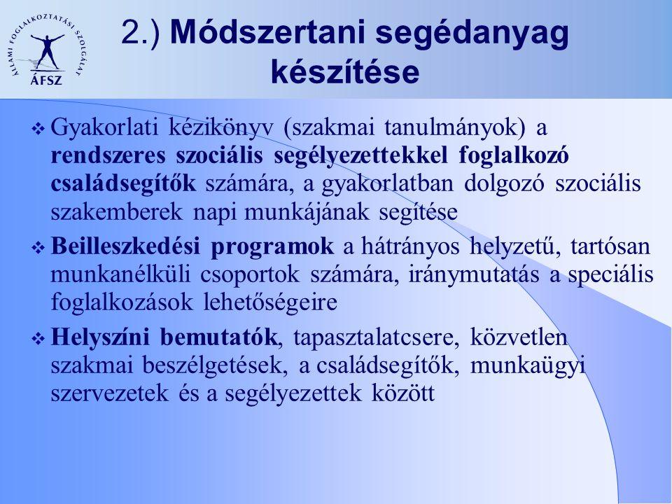 2.) Módszertani segédanyag készítése  Gyakorlati kézikönyv (szakmai tanulmányok) a rendszeres szociális segélyezettekkel foglalkozó családsegítők szá