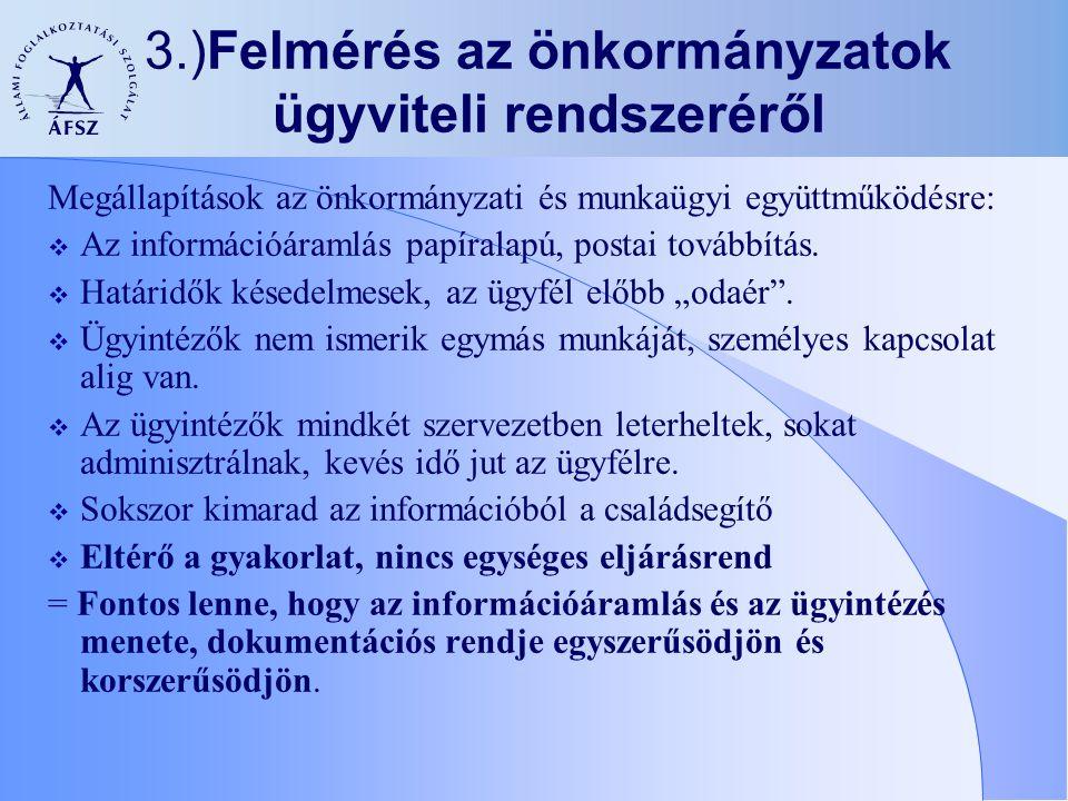 3.)Felmérés az önkormányzatok ügyviteli rendszeréről Megállapítások az önkormányzati és munkaügyi együttműködésre:  Az információáramlás papíralapú,