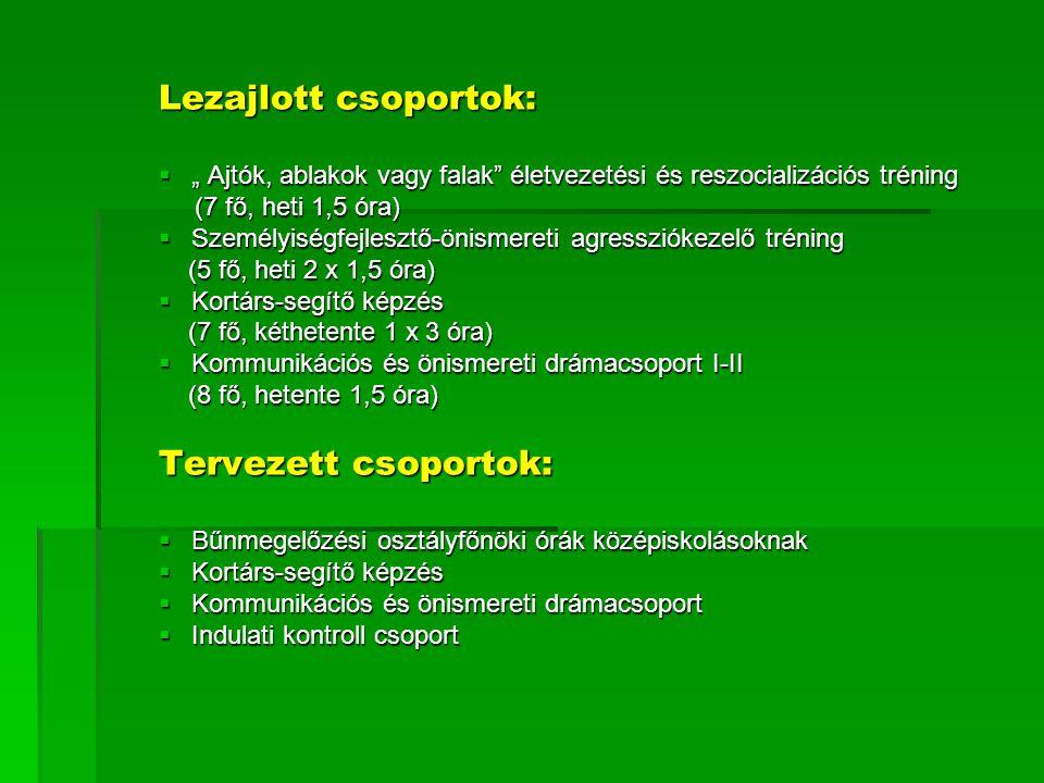 """Lezajlott csoportok:  """" Ajtók, ablakok vagy falak"""" életvezetési és reszocializációs tréning (7 fő, heti 1,5 óra) (7 fő, heti 1,5 óra)  Személyiségfe"""