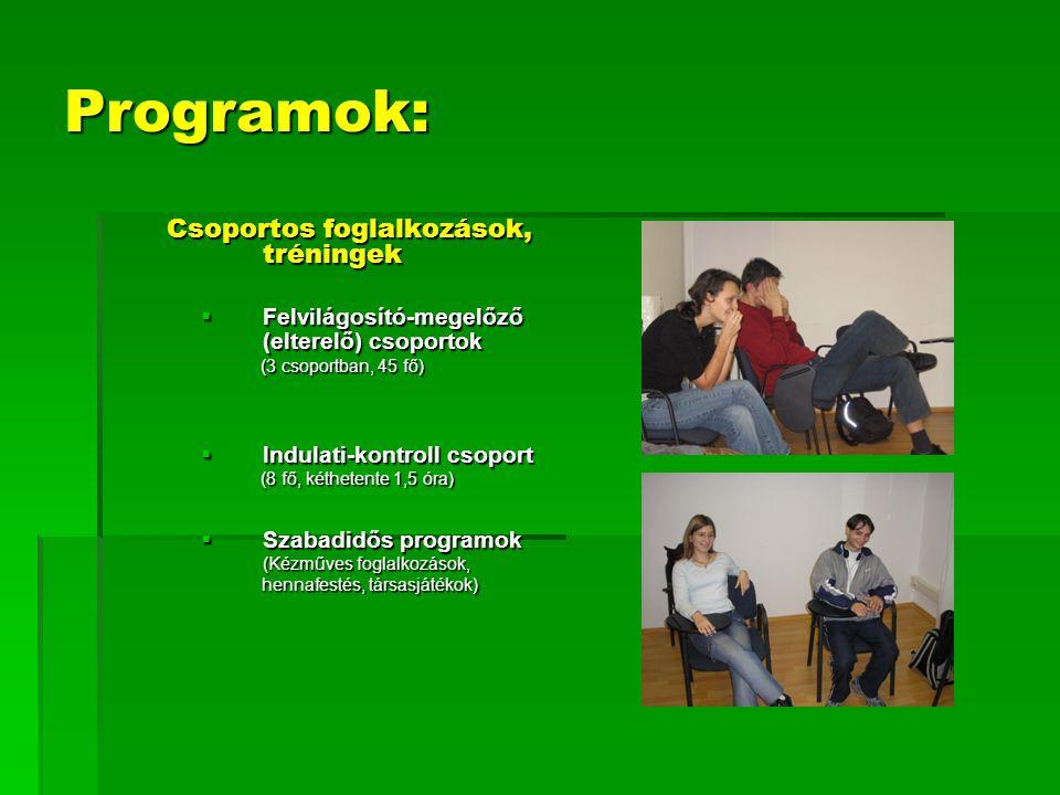 Programok: Csoportos foglalkozások, tréningek Csoportos foglalkozások, tréningek  Felvilágosító-megelőző (elterelő) csoportok (3 csoportban, 45 fő) (