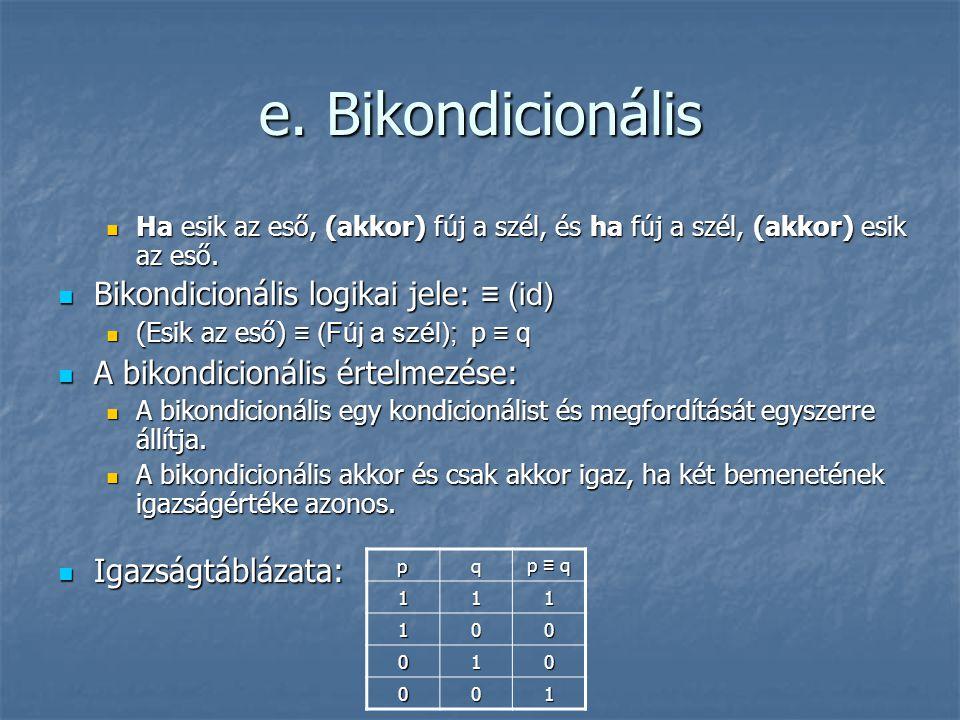 e. Bikondicionális  Ha esik az eső, (akkor) fúj a szél, és ha fúj a szél, (akkor) esik az eső.  Bikondicionális logikai jele: ≡ (id)  (Esik az eső)