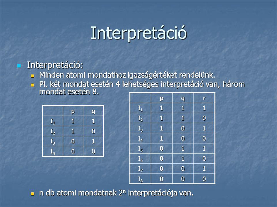 Interpretáció  Interpretáció:  Minden atomi mondathoz igazságértéket rendelünk.  Pl. két mondat esetén 4 lehetséges interpretáció van, három mondat