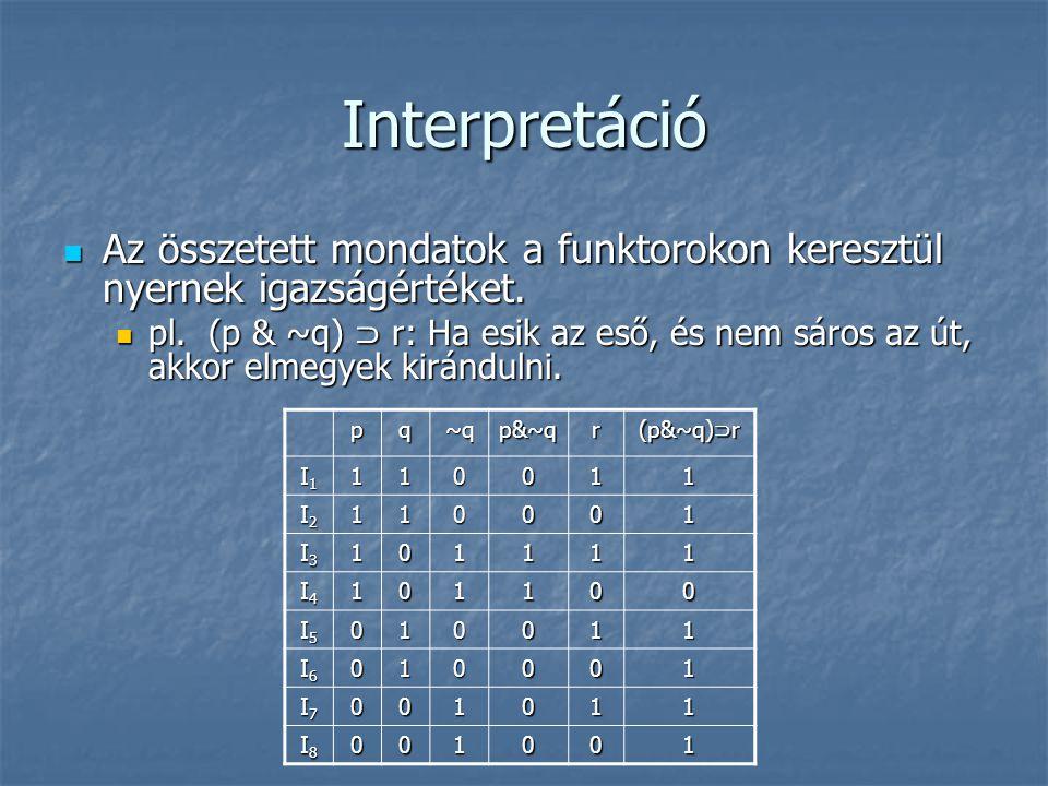 Interpretáció  Az összetett mondatok a funktorokon keresztül nyernek igazságértéket.  pl. (p & ~q) ⊃ r: Ha esik az eső, és nem sáros az út, akkor el