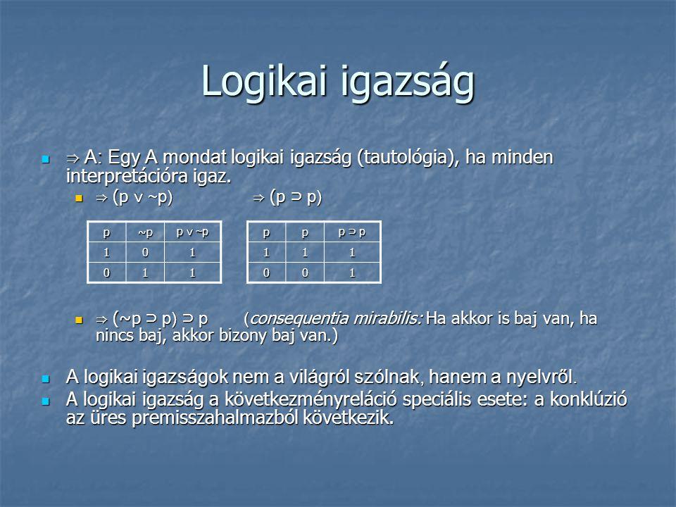 Logikai igazság  ⇒ A: Egy A mondat logikai igazság (tautológia), ha minden interpretációra igaz.  ⇒ (p ∨ ~p) ⇒ (p ⊃ p)  ⇒ (~p ⊃ p) ⊃ p( consequenti