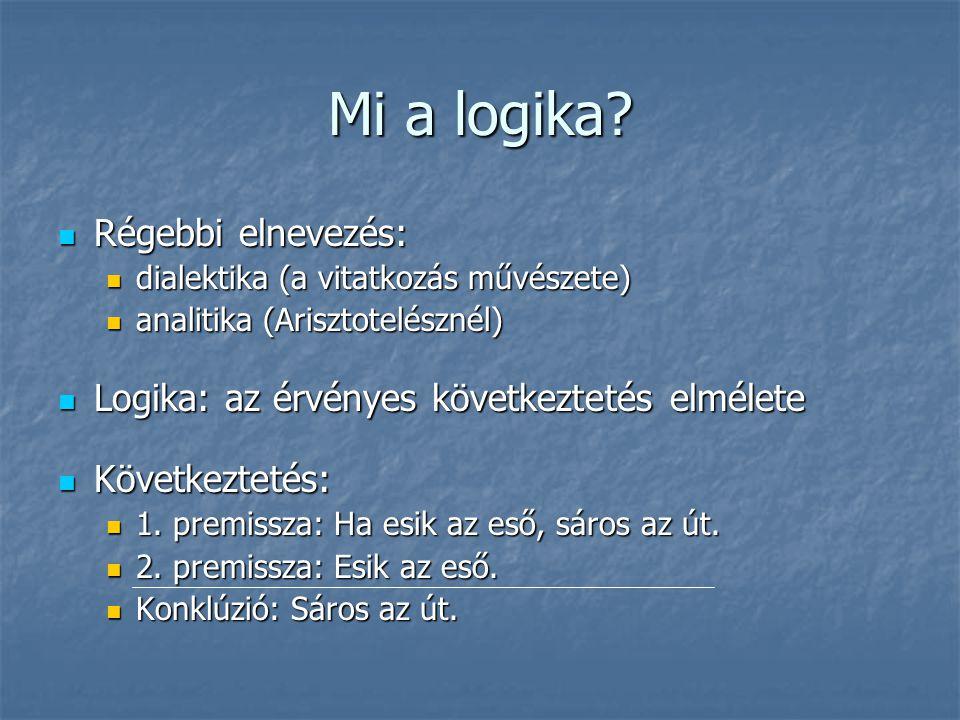 Mi a logika?  Régebbi elnevezés:  dialektika (a vitatkozás művészete)  analitika (Arisztotelésznél)  Logika: az érvényes következtetés elmélete 